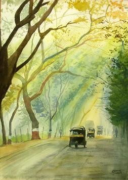 Morning Rays by Ramesh Jhawar, , , Beige color