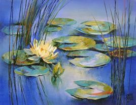 Waterlilies - 24 by Swati Kale, , , Blue color