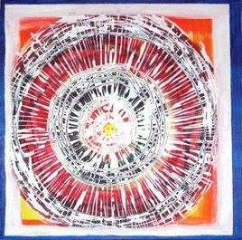 Kalchakra or the Wheel of Life by Hufreesh Dumasia Chopra, Painting, Acrylic on Canvas, Pink color