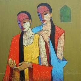 Gossip IX by Ganesh Patil, , , Beige color