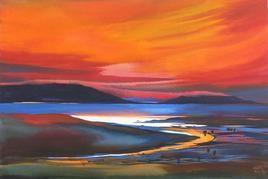 River Krishna - 2 by Sunil Kale, , , Orange color