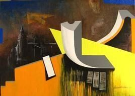 Yellow Effect by Krishnendu Porel, Geometrical, Geometrical Painting, Acrylic on Canvas, Brown color