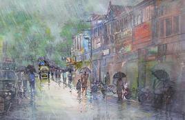 Rainy Season, Panchgani Street by Sunil Kale, , , Gray color