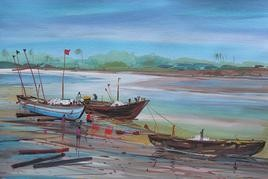 Konkan Coastal Life - 1 by Sunil Kale, , , Cyan color