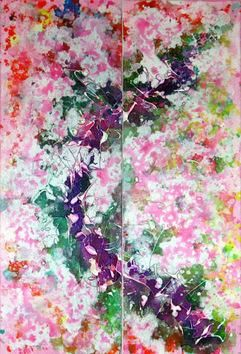 Pink Blossoms by Hufreesh Dumasia Chopra, Painting, Acrylic on Canvas, Pink color