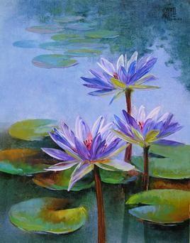 Waterlilies - 48 by Swati Kale, , , Green color