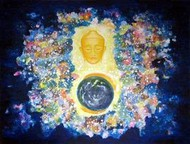 Eternal Presence by Hufreesh Dumasia Chopra, Painting, Acrylic on Canvas, Blue color