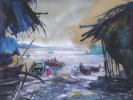 Konkan Seascape - 14 by Sunil Kale, , , Blue color