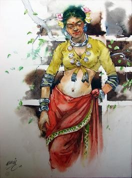 Thakar woman3 by Ramchandra Kharatmal, , , Brown color
