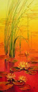 Waterlilies - 51 by Swati Kale, , , Orange color