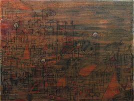 Landscape by Aditya Sagar, Painting, Mixed Media on Paper, Brown color