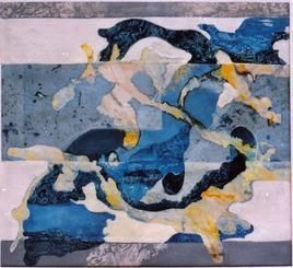 Untitled 3 by Mona Raghuwanshi, Painting, Mixed Media on Paper, Blue color