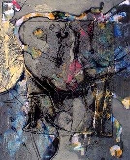 Untitled I by Mona Raghuwanshi, Painting, Mixed Media on Paper, Gray color