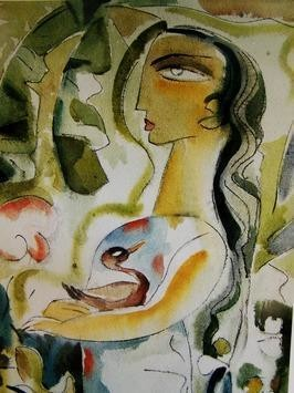 Lady with the Duck by Judhajit Sengupta, Expressionism, Expressionism Painting, Watercolor on Paper, Beige color