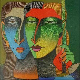 Violin Sellers by Dayanand Kamakar, , , Green color