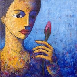 Face 107 by Ganesh Patil, , , Blue color