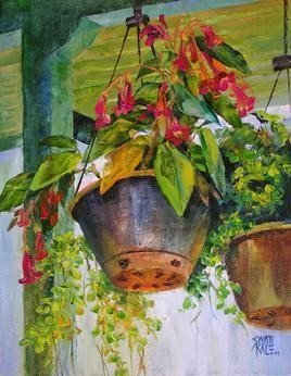 Hanging FLowers - 5 by Swati Kale, , , Green color