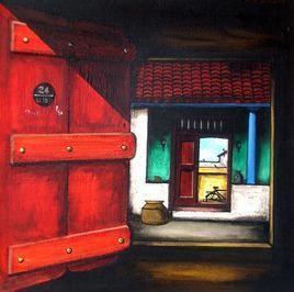 Untitled by K R Santhanakrishnan, , , Red color