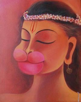 Hanuman – II by Manisha Raju, Painting, Acrylic on Canvas, Brown color