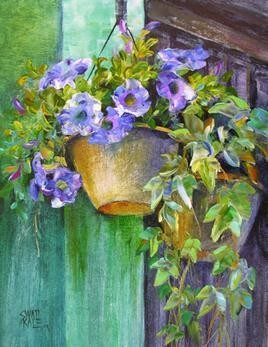 Hanging FLowers - 6 by Swati Kale, , , Green color