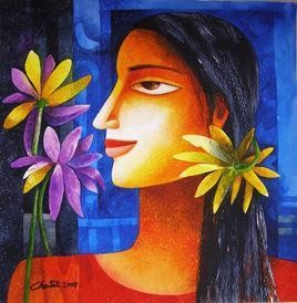 Nature with Girl 6 by Chaitali Mukherjee, , , Blue color