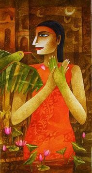 Nature with Girl 9 by Chaitali Mukherjee, , , Brown color