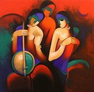 Three Musician by Arvind Kolapkar, , , Brown color