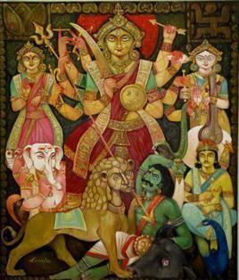 Traditional Durga by Arun Kumar Samadder, , , Brown color