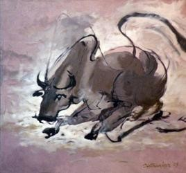 Bull by Tirthankar Biswas, Painting, Oil on Canvas, Brown color