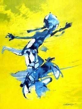 Risky Rider by Tirthankar Biswas, Impressionism, Impressionism Painting, Oil on Canvas, Yellow color