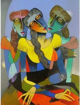 Three Women with Goat by Dayanand Kamakar, , , Brown color