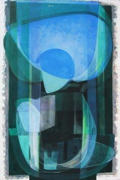 Composition by Deepankar Majumdar, Abstract, Abstract Painting, Acrylic on Canvas, Green color
