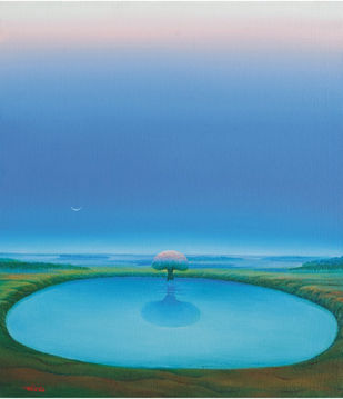 Journey by Animesh Nandi, Surrealism, Surrealism Painting, Oil on Canvas, Blue color