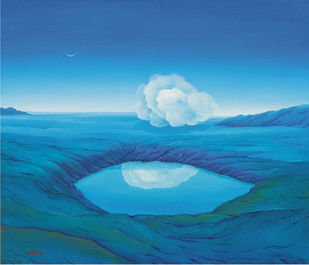 Conversation by Animesh Nandi, Surrealism, Surrealism Painting, Oil on Canvas, Blue color
