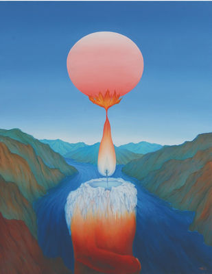 Reason With Season by Animesh Nandi, Surrealism, Surrealism Painting, Oil on Canvas, Blue color