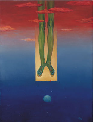 Untitled by Animesh Nandi, Surrealism, Surrealism Painting, Oil on Canvas, Blue color
