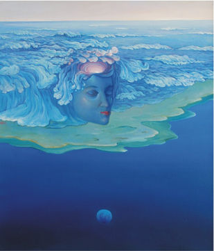 Journey 9 by Animesh Nandi, Surrealism, Surrealism Painting, Oil on Canvas, Blue color