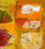 Untitled 1 by Srinath V, Naive, Naive Painting, Mixed Media on Paper, Orange color