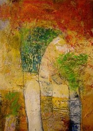 Untitled 5 by Srinath V, Naive, Naive Painting, Mixed Media on Paper, Brown color