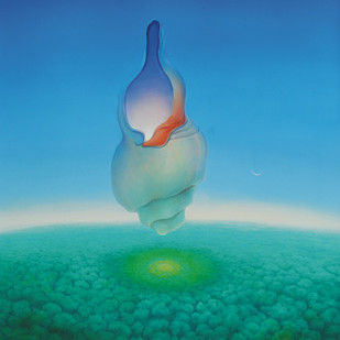 Journey 5 by Animesh Nandi, Surrealism, Surrealism Painting, Oil on Canvas, Cyan color