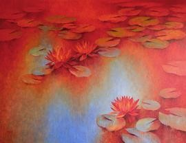 Water Lilies -61 by Swati Kale, , , Red color
