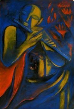 Krishna Leela by Aditya Dev, , , Blue color