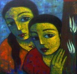 Friends XIX by Ganesh Patil, , , Green color