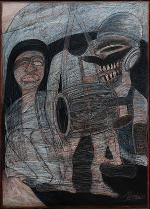 The Headless Drummer by Nilotpal Sinha, Naive, Naive Painting, Mixed Media on Canvas, Gray color
