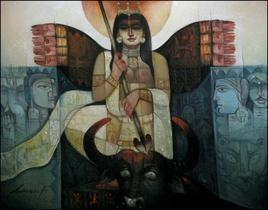 Durga-o-Bull-III by Arun Kumar Samadder, , , Green color
