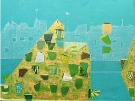 View Inside The Window by Ankur Khare, Naive, Naive Painting, Oil on Canvas, Cyan color