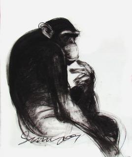 Thinker VI by Sumantra Mukherjee, , , Gray color