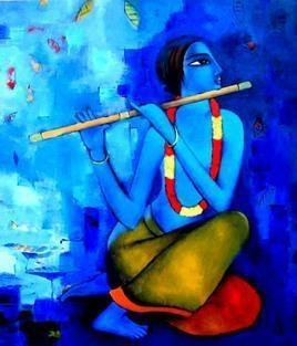 Krishna (X) by Sekhar Roy, , , Blue color