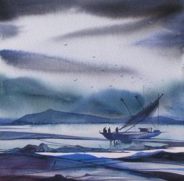 Riverscape- 13 by Sunil Kale, , , Blue color