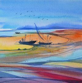 Riverscape - 14 by Sunil Kale, , , Cyan color